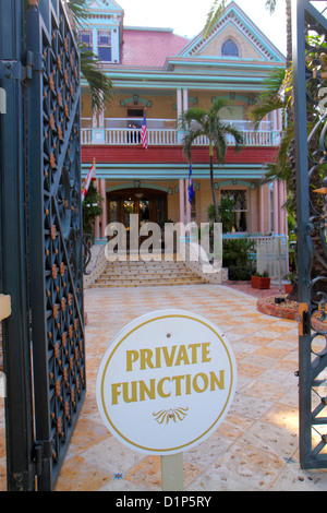 Florida Key West Florida Keys Duval Street Southernmost House Key West Historic Inn entrance sign private function - Stock Photo