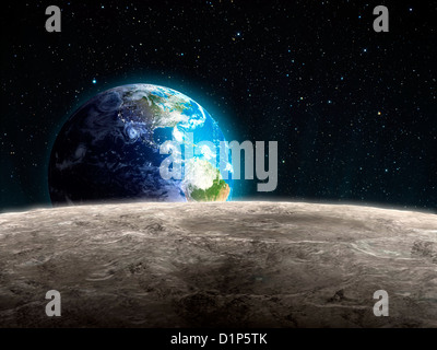 Earthrise from the Moon, artwork - Stock Photo