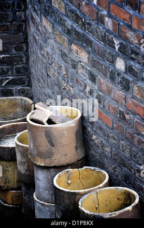 Saggers at the Gladstone Pottery Museum, Longton, Stoke-on-Trent - Stock Photo