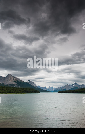 Dark clouds over Maligne Lake, Jasper National Park, Alberta, Canada - Stock Photo