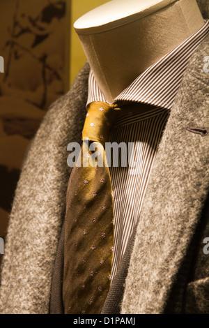 Tie on Manikin in window mannequin displayed in showcase store via Condotti Rome Italy - Stock Photo