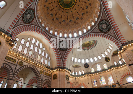 Architectural details of the dome at Suleymaniye Mosque, Third Hill, Istanbul, Turkey - Stock Photo