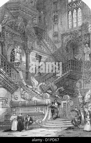 Burgos cathedral, Spain. Antique illustration, 1856. - Stock Photo