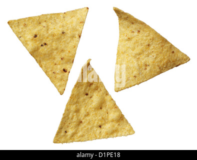 Corn tortilla chips isolated on white background - Stock Photo
