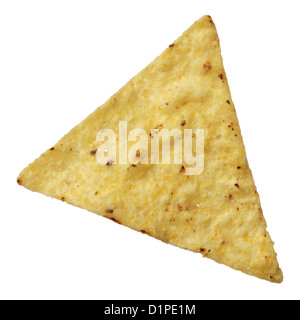 Corn tortilla chip isolated on white background - Stock Photo