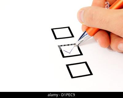 hand check box - Stock Photo