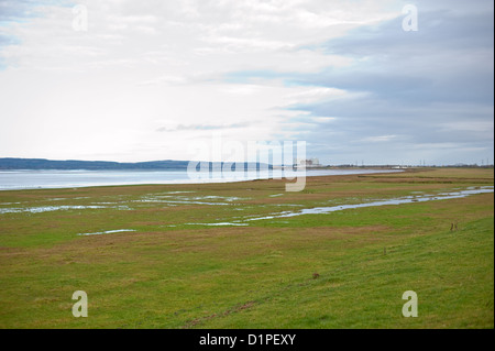 View of the rural Severn estuary towards Oldbury Power Station and the proposed site for a new nuclear power station - Stock Photo