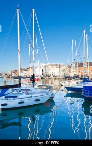 yachts moored in the Old harbour Weymouth Dorset England UK GB EU Europe - Stock Photo