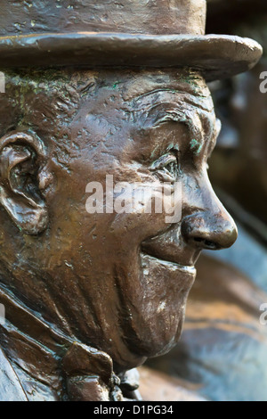 Statue of Stan Laurel and Oliver Hardy, by Graham Ibbeson on display in Laurel's birthplace: Ulverston, Cumbria, - Stock Photo