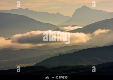 Dawn over Vallee de l'Asse and Alpes-de- Haute-Provence from the Plateau-de-Valensole, Provence, France - Stock Photo