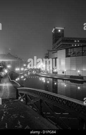 Brindleyplace at night from Farmers Bridge Junction in monochrome, Birmingham, England, UK - Stock Photo