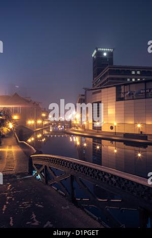 Brindleyplace at night from Farmers Bridge Junction, Birmingham, England, UK - Stock Photo