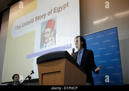 Maikel Nabil Sanad, an Egyptian blogger and activist carrying a speech in Tel Aviv University on 02 January 2012. - Stock Photo