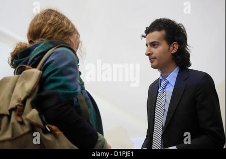 Maikel Nabil Sanad, an Egyptian blogger speaking to an Israeli student in Tel Aviv University on 02 January 2012. - Stock Photo