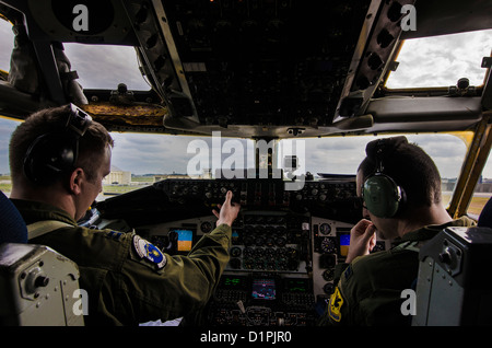 U.S. Air Force captains Andrew Lawerence and Harrison Gippol, 909th Air Refueling Squadron pilots, conduct their - Stock Photo