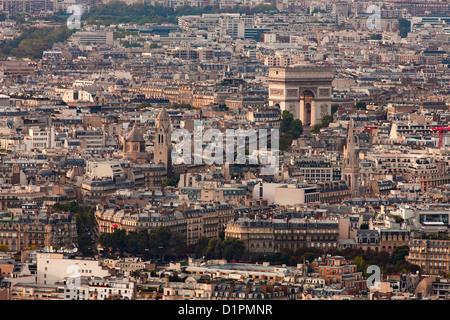 L'Arc de Triomphe in Paris - view from tour Montparnasse; The Triumphal Arch in Paris - Stock Photo