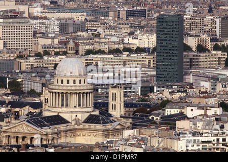 Le Panthéon in Paris - view from tower Montparnasse - Stock Photo