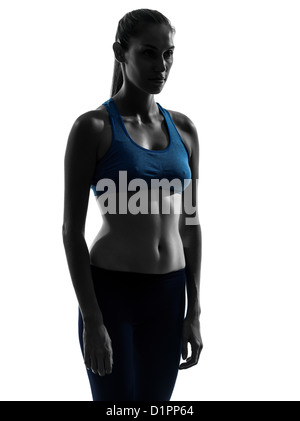 one  woman exercising yoga portrait in silhouette studio isolated on white background - Stock Photo