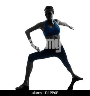 one  woman exercising yoga in silhouette studio isolated on white background - Stock Photo