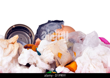 Trash can filled with rubbish and garbage, isolated on white - Stock Photo