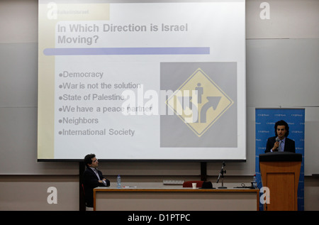 Maikel Nabil Sanad, an Egyptian blogger carrying a speech in Tel Aviv University Israel - Stock Photo