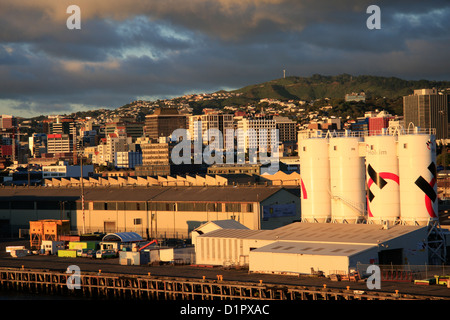 Wellington Container Terminal as seen in the early morning from Interislander Ferry Terminal, New Zealand. - Stock Photo