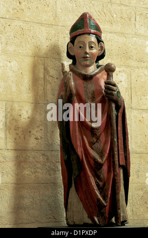 Martin of Tours (316-397). Bishop of Tours. Sculpture. Church of Saint Martin de Tours. Fromista. Spain. - Stock Photo