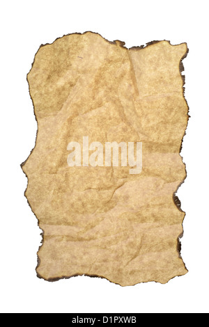 Blank brown grunge paper texture with burnt edges isolated on white background - Stock Photo