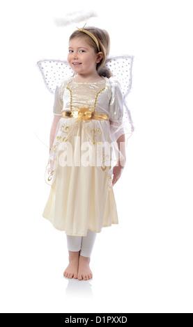 little angel girl isolated on white - Stock Photo