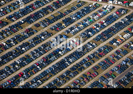 The Netherlands, near Almelo, Car scrap yard. Aerial. - Stock Photo