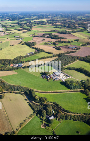 The Netherlands, near Almelo, Farms and fields. Agriculture. Aerial - Stock Photo