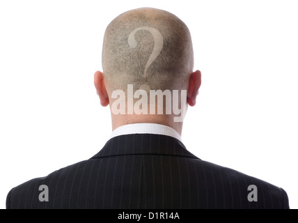Rear view of bald man with a question mark shaved into hair wearing suit over white background - Stock Photo