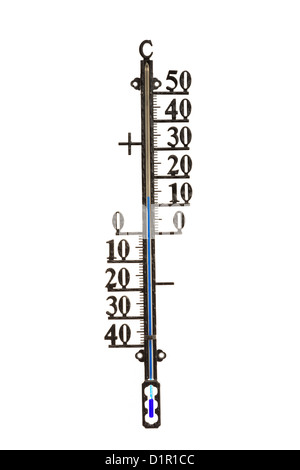 Weather thermometer showing temperature in degrees centigrade with positive and negative numbers isolated on a white - Stock Photo