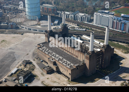 Aerial photograph of Battersea Power Station - Stock Photo