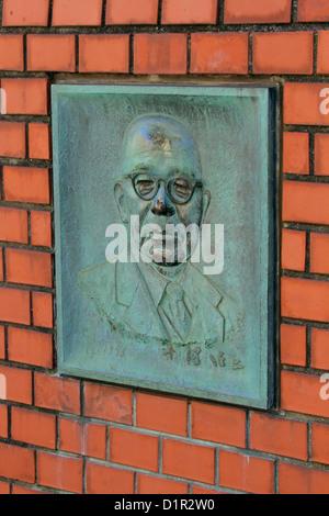 Monument of Shinji Sogo former president of the Japan National Railways at Tokyo Station - Stock Photo