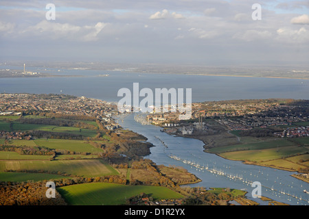 Aerial image of Cowes on the Isle of Wight - Stock Photo