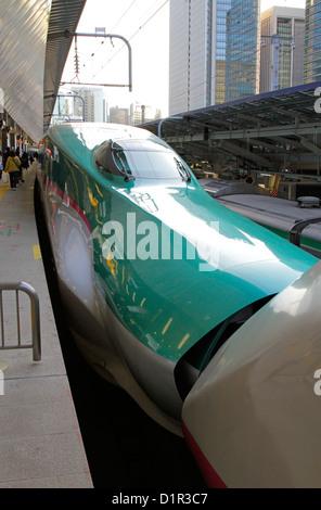 The coupling Tohoku Shinkansen E5 series Hayabusa high-speed rail line at Tokyo Station Japan - Stock Photo