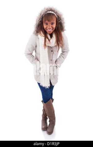 Young african american woman wearing winter clothes, isolated on white background - Stock Photo