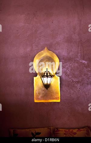 Morocco, M'Hamid el Ghizlane, Hotel Azalay. lamp in restaurant. - Stock Photo