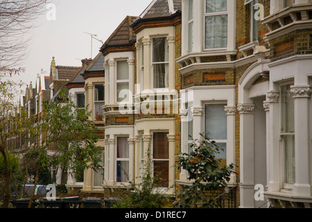 victorian terraced homes houses in south east london - Stock Photo
