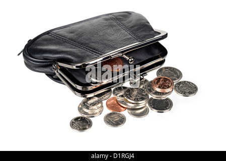 Purse with Coins, Canadian money. - Stock Photo