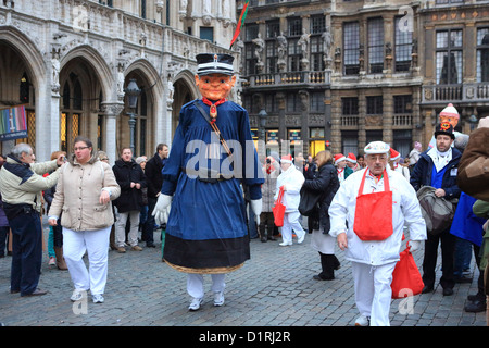 The Santa Claus Christmas Parade in the Grand Place, in Brussels, Flanders, Belgium - Stock Photo