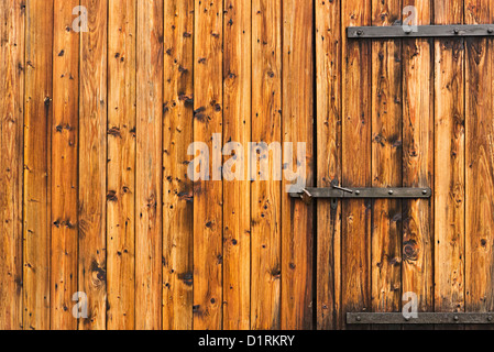 old wooden door locked - Stock Photo