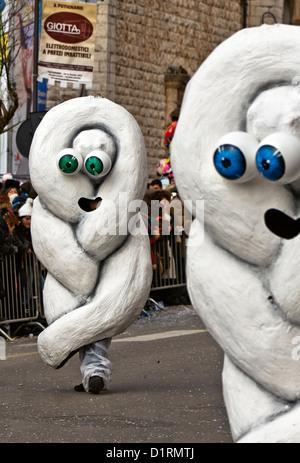 Mozzarella's Mask tress shaped during a famous and Traditionsl Carnival Padare in Putignano 2012, Bari, Apulia, - Stock Photo