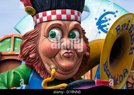 Euro crisis concept on a Carnival Float during a famous and Traditionsl Carnival Padare in Putignano 2012, Bari, - Stock Photo