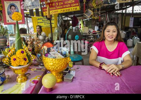 Jan. 4, 2013 - Bangkok, Thailand - A fortune teller at Wat Mahabut in eastern Bangkok. The temple was built in 1762 - Stock Photo
