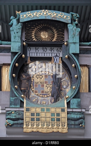 The Anchor (Ankeruhr or Anker) Clock in Vienna (Wien), Austria. - Stock Photo