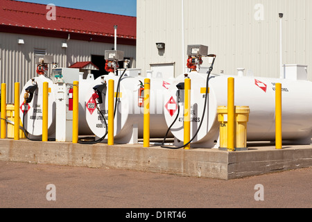 Environmentally safe fuel tanks with safety features such as fire extinguishers and back up pillars. - Stock Photo