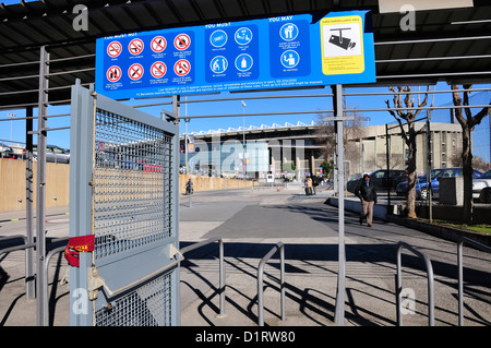 Barcelona, Catalonia, Spain. Camp Nou football stadium (1957) home of F C Barcelona. Entry gates and sign in English - Stock Photo