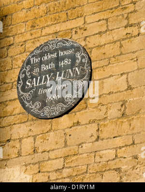 The sign for Sally Lunn's tea room in the Georgian City of Bath Somerset - Stock Photo